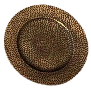 Plato de presentación negro con dorado diseño panal de 33x33x2cm