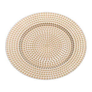 Plato de presentación dorado con blanco de 33x33x2cm