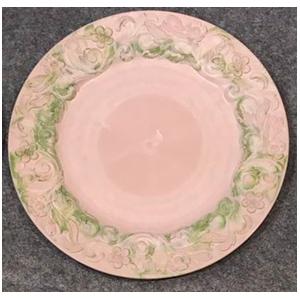Plato de presentación rosa con verde diseño guías en la orilla de 33x33x2cm