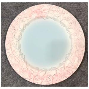 Plato de presentación rosa con azul con diseño marino en la orilla de 33x33x2cm