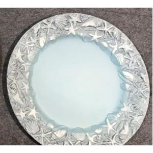 Plato de presentación azul con gris diseño marino en la orilla de 33x33x2cm