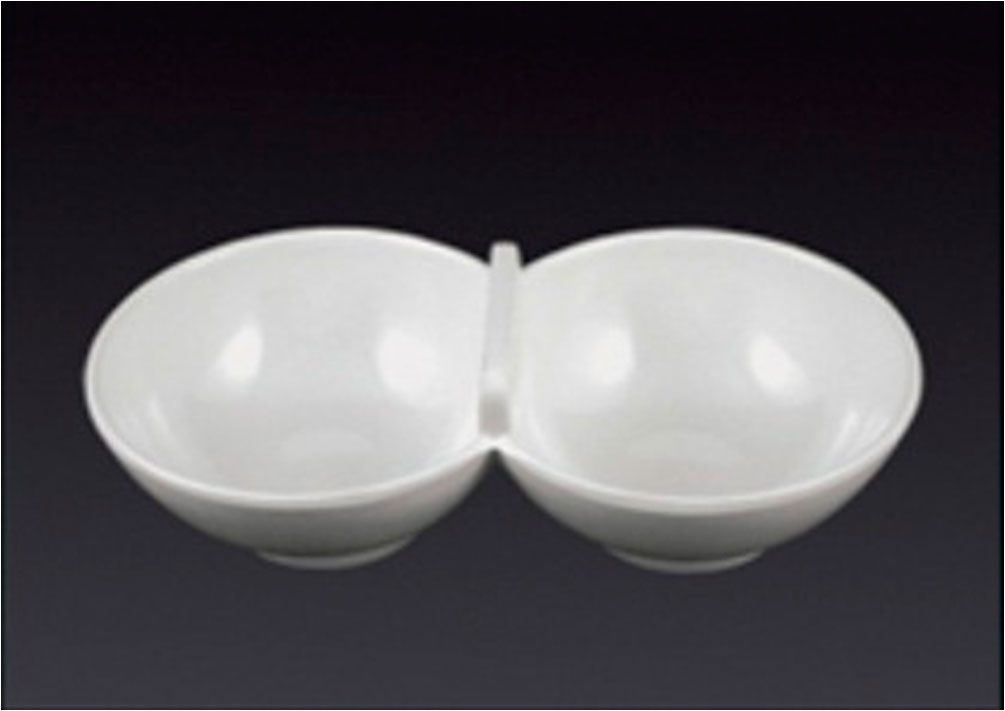 Salsera redonda doble de melamina 20x1.5x4cm