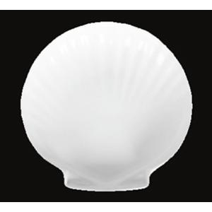 Plato de melamina blanca diseño concha de 14x13x2cm