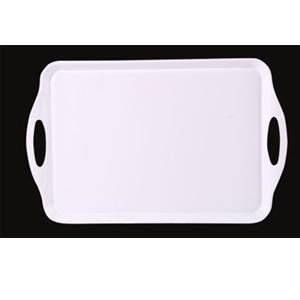 Charola rectangular con asas de melamina blanca de 47x29x2cm