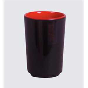 Vaso de melamina roja con negro de 7x10cm