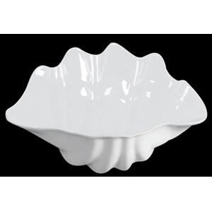 Bowl de melamina blanca diseño concha de 48x29x20x13cm
