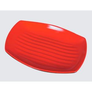 Plato de melamina rectangular rojo de 26X17X2cm