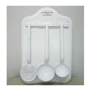 Juego de 3 Utensilios d/peltre blanco d/cocina con base p/pared