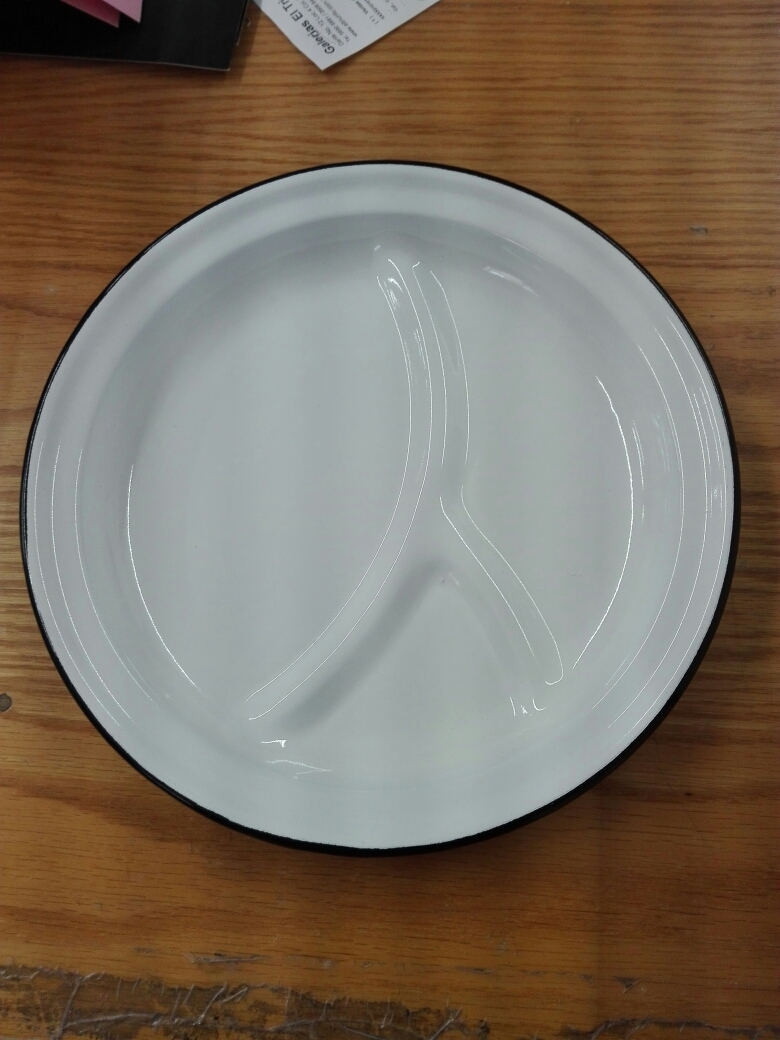 Plato de peltre blanco con 3 divisiones de 27x3cm