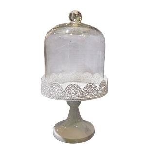 Pastelero de metal blanco con tapa de cristal de 18x18x32cm