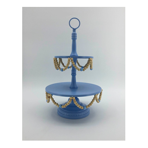 Base doble de metal para pastelillos en color azul y cuentas de 25x25x43.5cm