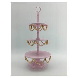 Base triple de metal para pastelillos en color rosa y cuentas de 25x25x59cm