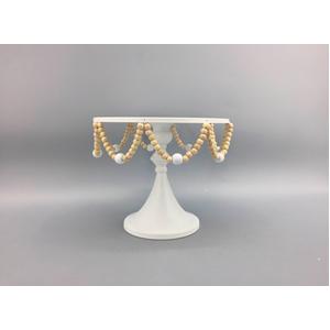 Base de metal para pasteles blanca con cuentas de 25x25x21cm