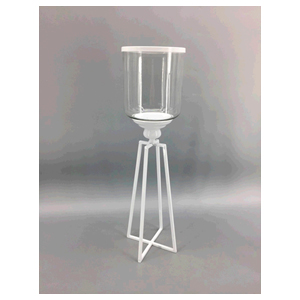 Candelabro de metal blanco con pantalla de vidrio de 14x14x51cm