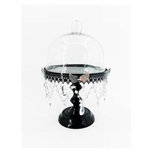 Pastelero de metal negro c/tapa de cristal con cuentas y mariposa de 27x27x41cm