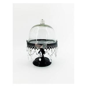 Pastelero de metal negro c/tapa de cristal con cuentas y mariposa de 22x22x30cm