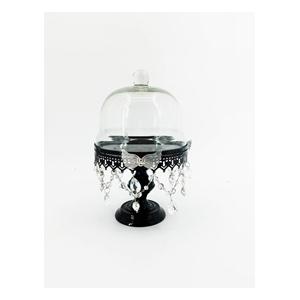 Pastelero de metal negro c/tapa de cristal con cuentas y mariposa de 19x18x28cm