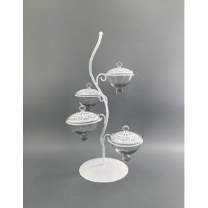 Dulcero diseño Árbol para 4 pastelillos c/base de vidrio y tapas de 23x23x45cm