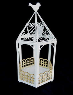 Candelabro diseño Jaula blanca con ave de 26x23x49cm
