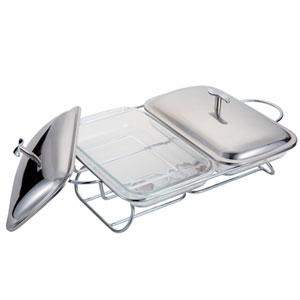 2 refractarios c/base para mantener calientes los alimentos de 30x17.6x5cm/1.5L
