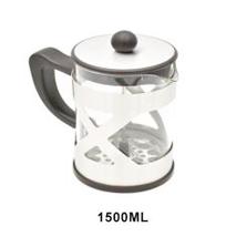 Cafetera de cristal con base y tapa de acero de 1500 ml de 18x12x21cm