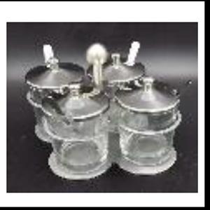 Juego de 4 especieros de cristal con cuchara y tapa de metal