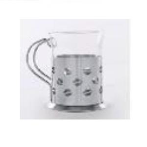 Taza de cristal con base y asa de metal diseño granos de café de 250ml