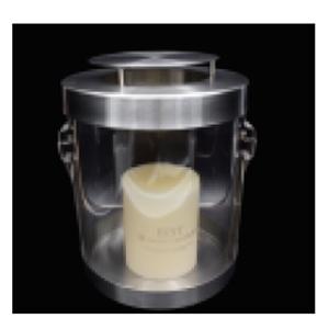Linterna de cristal con base y tapa de metal de 16x22cm