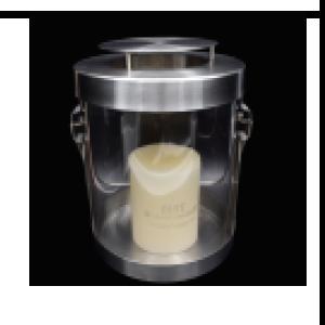 Linterna de cristal con base y tapa de metal de 19x30cm