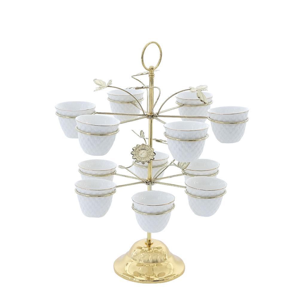 Juego de 12 tazas de porcelana blanca para té c/filo oro en base de metal