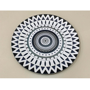 Plato presentación diseño psicodélico blanco con negro de 33x33x2cm