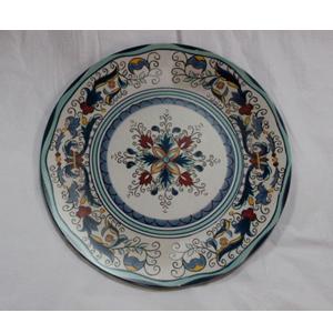 Plato presentación diseño flores azules y rojas de 33x33x2cm