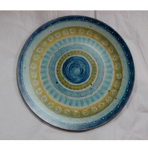Plato presentación diseño círculos azules y verdes de 33x33x2cm
