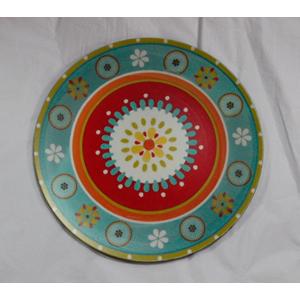 Plato presentación diseño círculos verdes con rojos  de 33x33x2cm