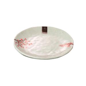 Plato de melamina redondo diseño flor de ciruelo en color menta de 21x3cm