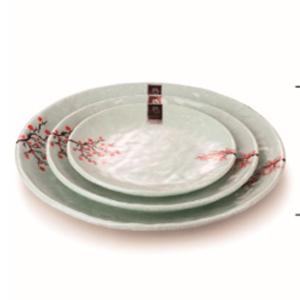 Plato de melamina redondo diseño flor de ciruelo en color menta de 33x4cm