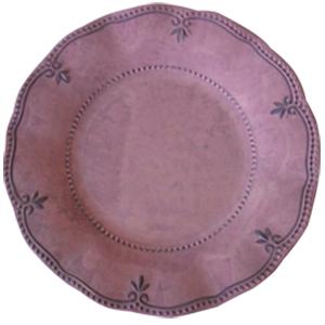 Plato de melamina rosa con diseño de 27cm