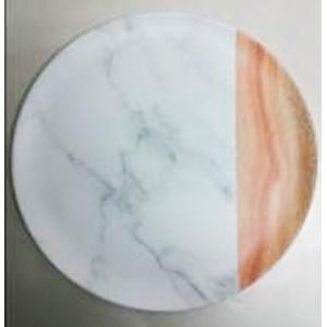 Plato de melamina diseño madera y mármol de 28cm