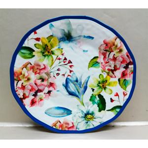 Plato de melamina con estampado de flores de colores y orilla azul de 23cm