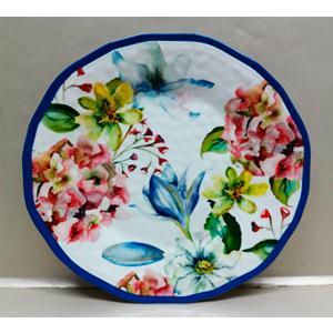 Plato de melamina con estampado de flores de colores y orilla azul de 28cm