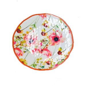 Plato de melamina con estampado de flores de colores y orilla naranja de 28cm
