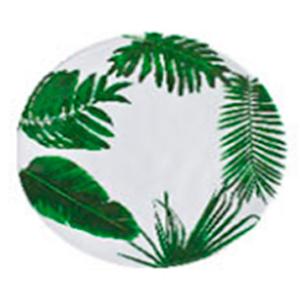 Plato de melamina blanco con estampado de hojas verdes de 22cm