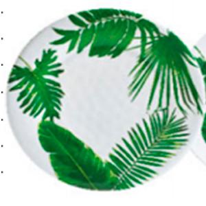 Plato de melamina blanco con estampado de hojas verdes de 26cm