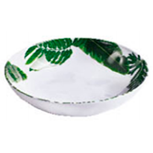 Bowl de melamina blanco con estampado de hojas verdes de 19cm