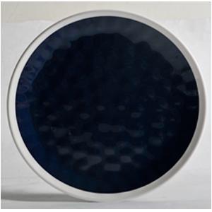 Plato de melamina color azul con orilla blanca de 27cm