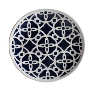 Plato de melamina diseño azulejo gris y orilla blanca de 21.5cm
