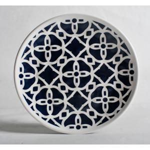 Plato de melamina diseño azulejo azul y orilla blanca de 21.5cm