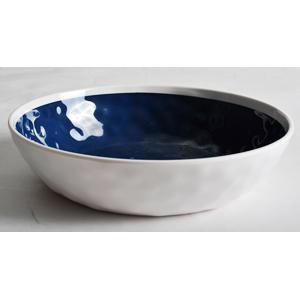 Plato de melamina azul con blanco de 20cm
