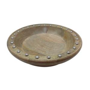 Bowl de madera con estoperoles de 30x12x20cm