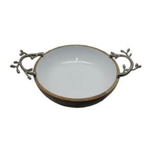 Bowl de madera con porcelana y asas de metal de 31x10x10cm